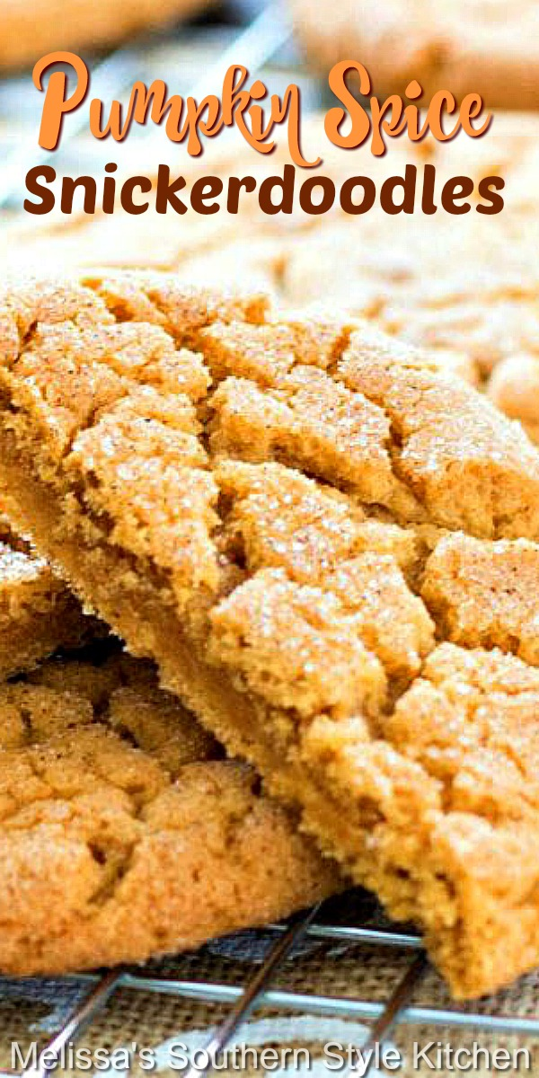 These sweet and spicy seasonal cookies won't last long in your fall cookie jar #snickerdoodles #pumpkinspice #cookies #cookierecipes #holidayrecipes #holidaybaking #pumpkincookies #pumpkinrecipes #fallbaking #desserts #cookieswap #christmascookies #southernfood
