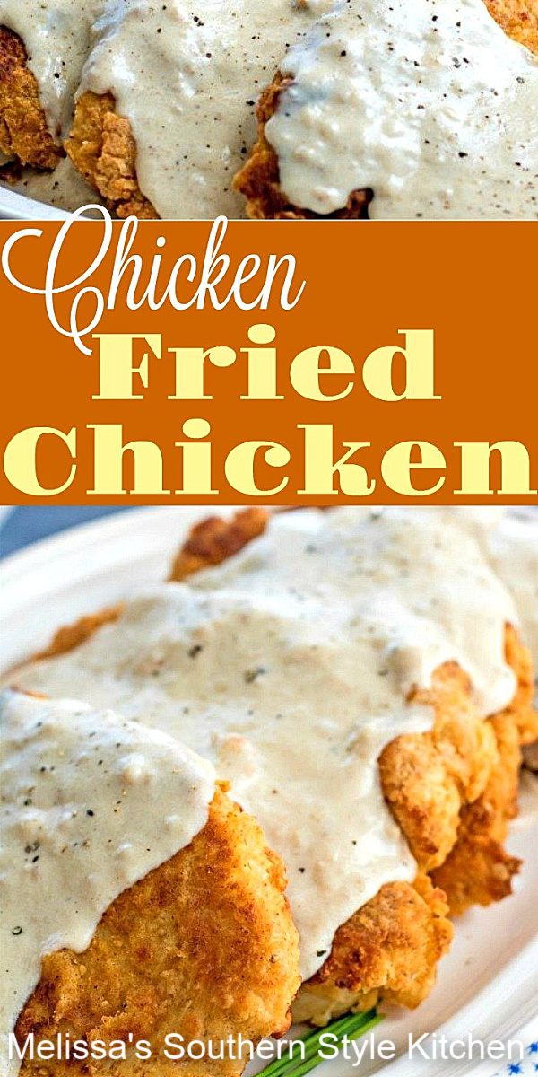 Boneless chicken breasts are the star of this recipe for Chicken Fried Chicken drizzled with pan gravy #chicken #friedchicken #southernfriedchicken #chickenandgravy #Southernrecipes #bestffriedchicken #dinnerideas #dinner #skilletfriedchicken #gravyrecipes
