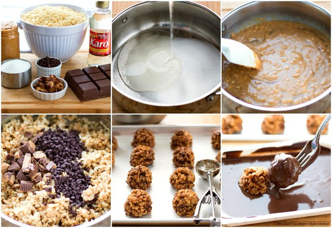 Step-by-step preparation images and ingredients for Scotcheroo Bon Bons
