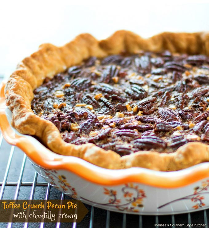 Baked pecan pie in a dish