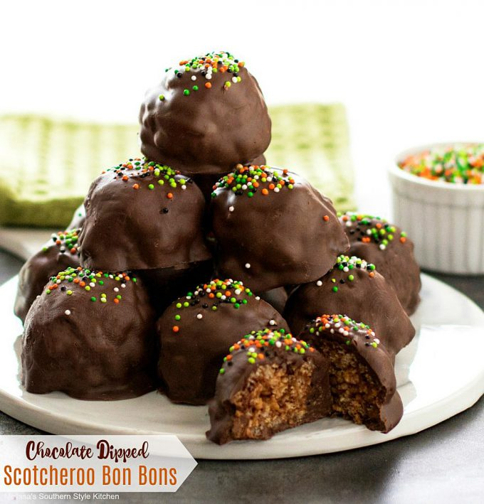 Chocolate Dipped Scotcheroo Bon Bons