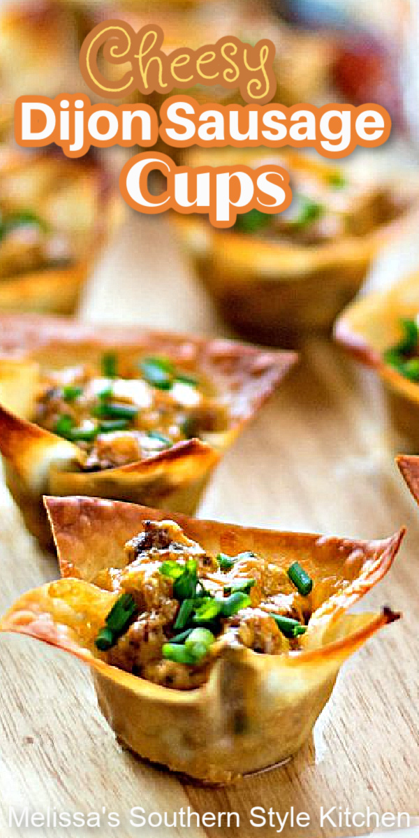 These easy Cheesy Dijon Sausage Cups are made using wonton wrappers for a quick brunch or starter #sausagecups #sasuagerecipes #cheesysausagecups #wontoncups #sontonwrappers #sausagerecipes #cheesysausagecups #brunch #appetizers #recipes #southernfood #southernrecipes
