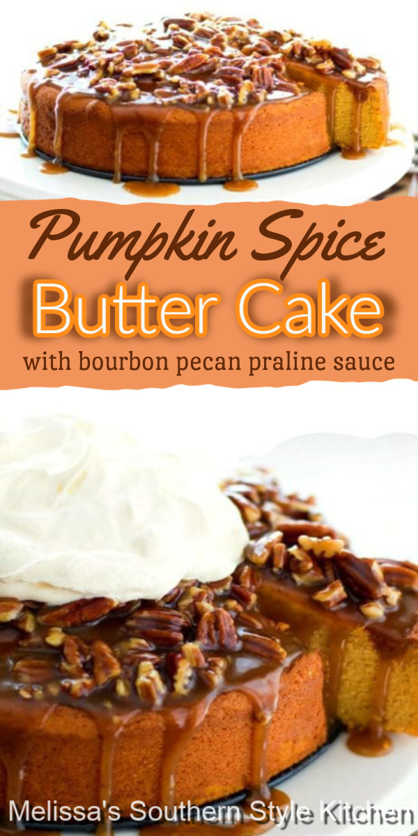 Enjoy this made-from-scratch Pumpkin Spice Butter Cake drizzled with Bourbon Pecan Praline Sauce and a generous dollop of whipped cream #pumpkinspice #pumpkinspicecakes #pumpkinspicebuttercake #buttercakerecipe #pumpkindesserts #desserts #dessertfoodrecipes #fallbaking #holidayrecipes #thanksgivingcakes #southerncakerecipes #pecanpralinesauce #bourbon