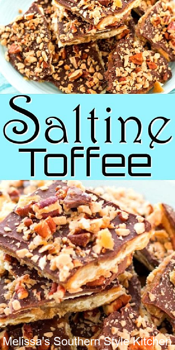 This buttery Saltine Toffee with Pecans and Toffee Bits features crackers smothered with homemade toffee then topped with melted chocolate. It's positively addictive! #crackertoffee #christmascrack #saltinetoffee #toffee #chocolate #christmascandy #chrismtassrecipes #desserts #dessertfoodrecipes #toffeerecipes