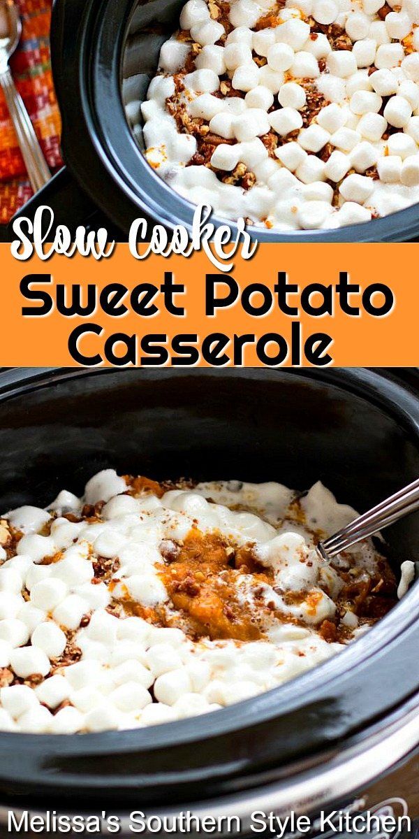 Free-up oven space and make this insanely delicious Sweet Potato Casserole in your slow cooker! #sweetpotatocasserole #sweetpotatoes #crockpotrecipes #slowcookedsweetpotatocasserole #casserolerecipes #thanksgivingrecipes #potatorecipes #southernfood #southernrecipes #holidaysidedishes