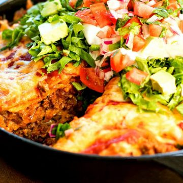 Recipe For Stacked Beef and Bean Tostada Skillet