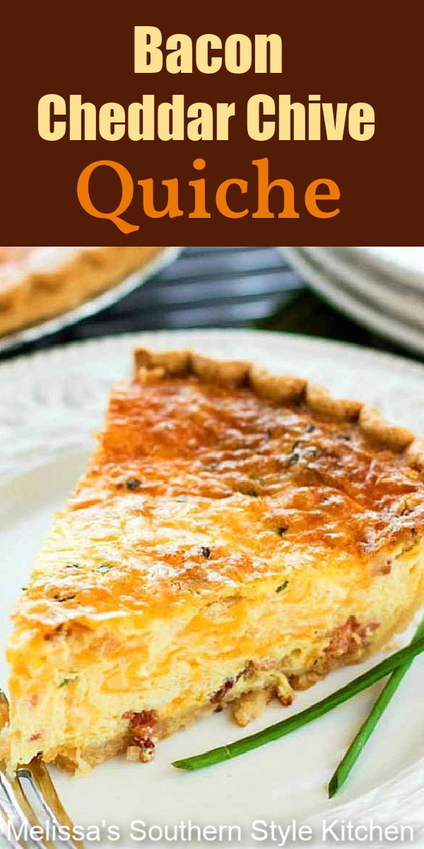 This simple Cheddar Bacon Chive Quiche makes a delicious entree for breakfast, brunch or brinner #baconquiche #bestquicherecipes #baconcheddarchivequiche #eggrecipes #edggs #brunch #breakfast #holidaybrunch #lunch #teatime #southernfood #southernrecipes #christmasbrunch #eaterbrunch #thanksgivingbrunch