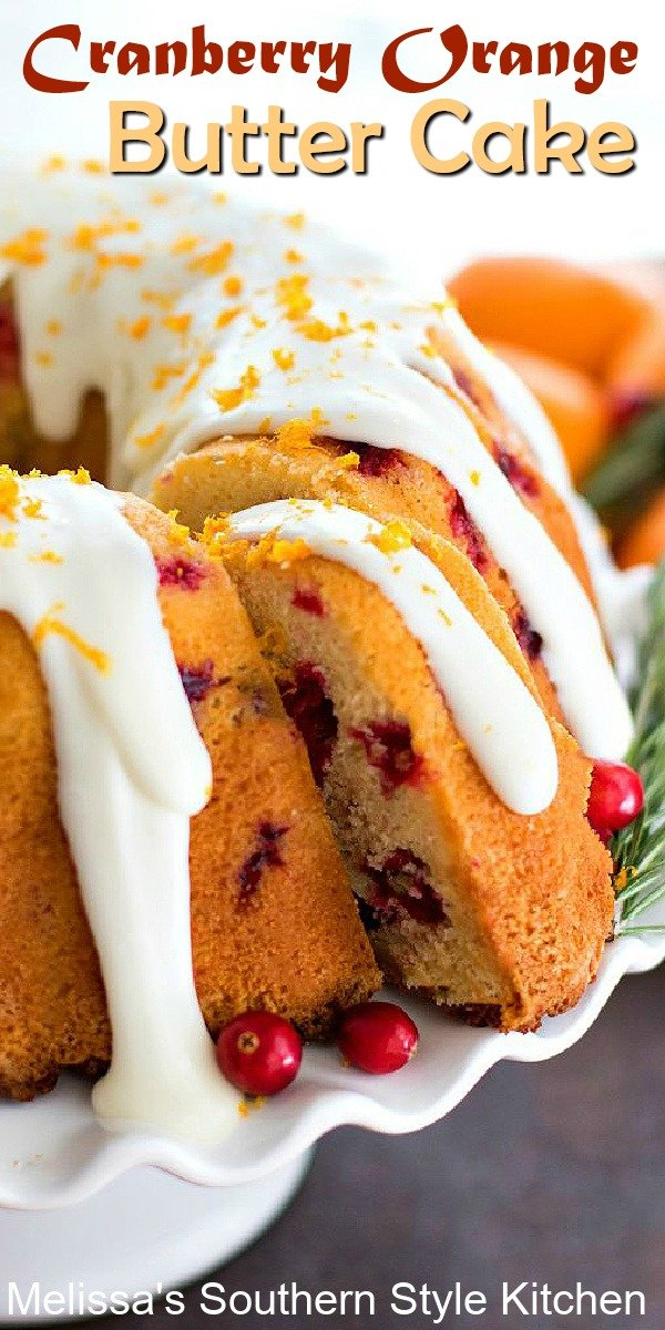 This stunning Cranberry Orange Butter Cake features holiday flavors in every bite #cranberryorangeecake #buttercake #christmascranberrycake #orange #cakes #cakerecipes #holidaycakes #desserts #dessertfoodrecipes #Christmasdesserts #southernfood #southernrecipes