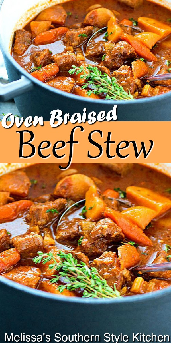 This hearty Beef Stew is packed with flavor. It features vegetables and seasoned chunks of beef that's braised until it's fall apart tender #beefstew #braisedbeefstew #braisedbeef #maindish #dinner #dinnerideas #southernstews #southernrecipes #chuckroast #easybeefrecipes #beef