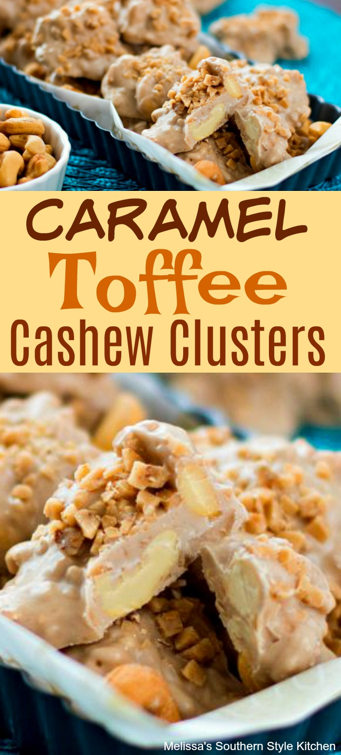 Ad these irresistible homemade Caramel Toffee Cashew Clusters to your special occasion desserts menu #cashewclusters #cashewclusters #toffeecashewclusters #caramelcashewclusters #candy
