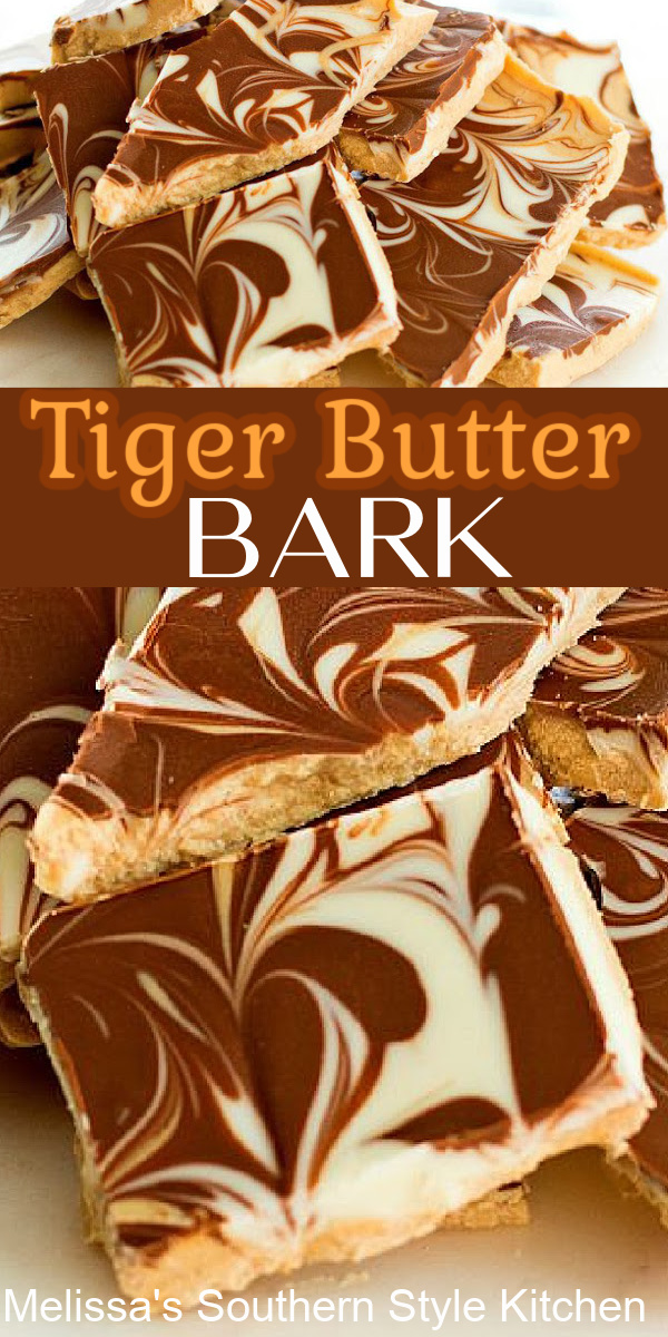 You can make a batch of this tricolor Tiger Butter Bark in no time flat! #tigerbutter #tigerbutterbark #whitechocolate #peanutbutter #chocolate #candy #christmacandy #candyrecipes #christmasrecipes #holidayrecipes #southernfood #southernrecipes