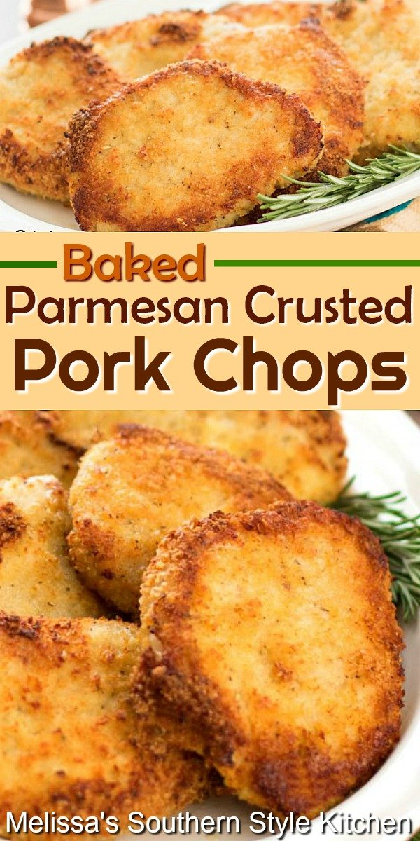 These crispy Baked Parmesan Crusted Pork Chops will become one of your favorite no fuss dinner entrees #bakedporkchops #porkrecipes #pork #bakedporkchops #parmesancrustedporkchops #ovenfried #friedporkchops #Parmesan #dinnerideas #dinner #southernfood #southernrecipes