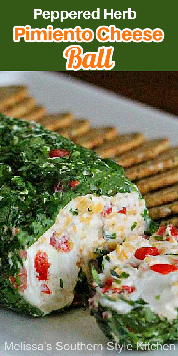 Peppered Herb Pimiento Cheese Ball incorporating fresh herbs with pimentos and goat cheese results in an easy make ahead appetizer #pimientocheese #cheeseballrecipes #cheese #cheeselog #herbs #freshherbs #appetizers #southernfood #holidayrecipes #tailgating #southernrecipes #pimentocheese