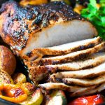 Chili Rubbed Pork Loin Roast with Seasoned Vegetables