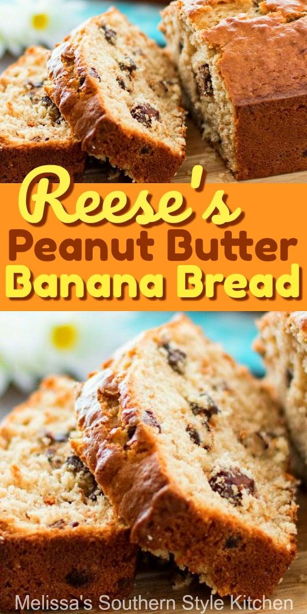Reese's Peanut Butter Banana Bread #bananabread #peanutbuttercups #reeses #sweet #dessertfoodrecipes #bestbananabread #southernrecipes #southernfood