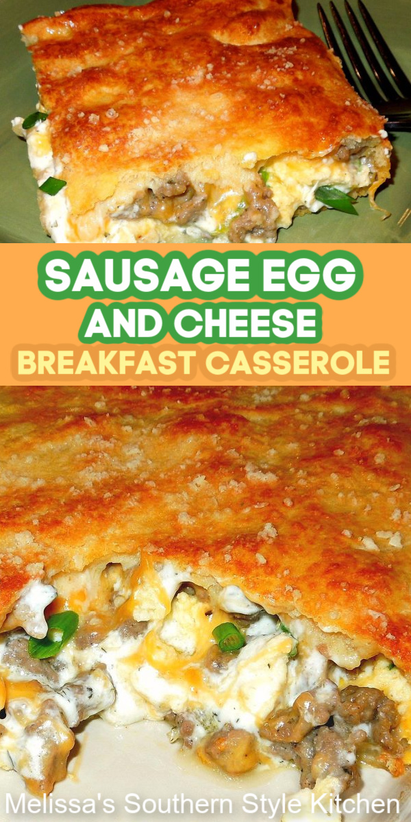 Start your morning right with a piece of Sausage Egg and Cheese Breakfast Casserole #breakfastcasserole #brunch #overnightcasserole #sausageanseggs #sausageeggandcheese #sausageandeggcasserole #casserolerecipes #casseroles #holidaybrunch #southernfood #southernrecipes