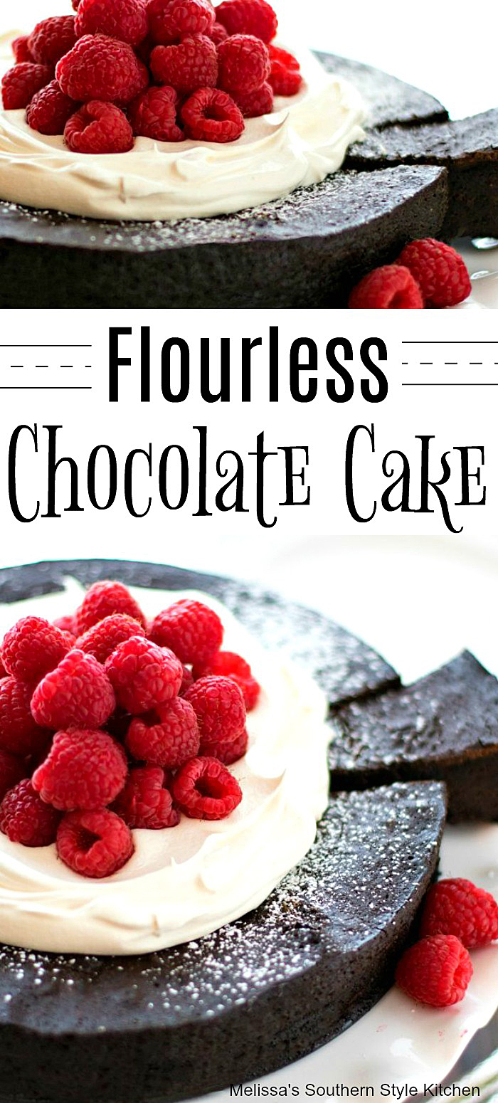 Chocolate fans will love this fudgy Flourless Chocolate Cake #chocolatecake #flourlesscakerecipes #chocolatecake #flourlesscae #chocolaterecipes #chocolate
