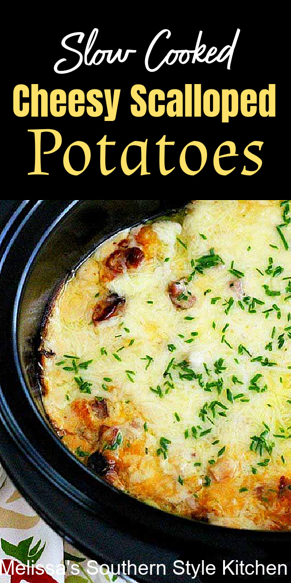 These Slow Cooked Cheesy Scalloped Potatoes with ham can double as a side dish or a main dish casserole #scallopedpotatoes #slowcookedscallopedpotatoes #crockpotpotatoes #cheesypotatocasserole #potatocasseroles #potatorecipes #southernrecipes #southernstylepotatoes