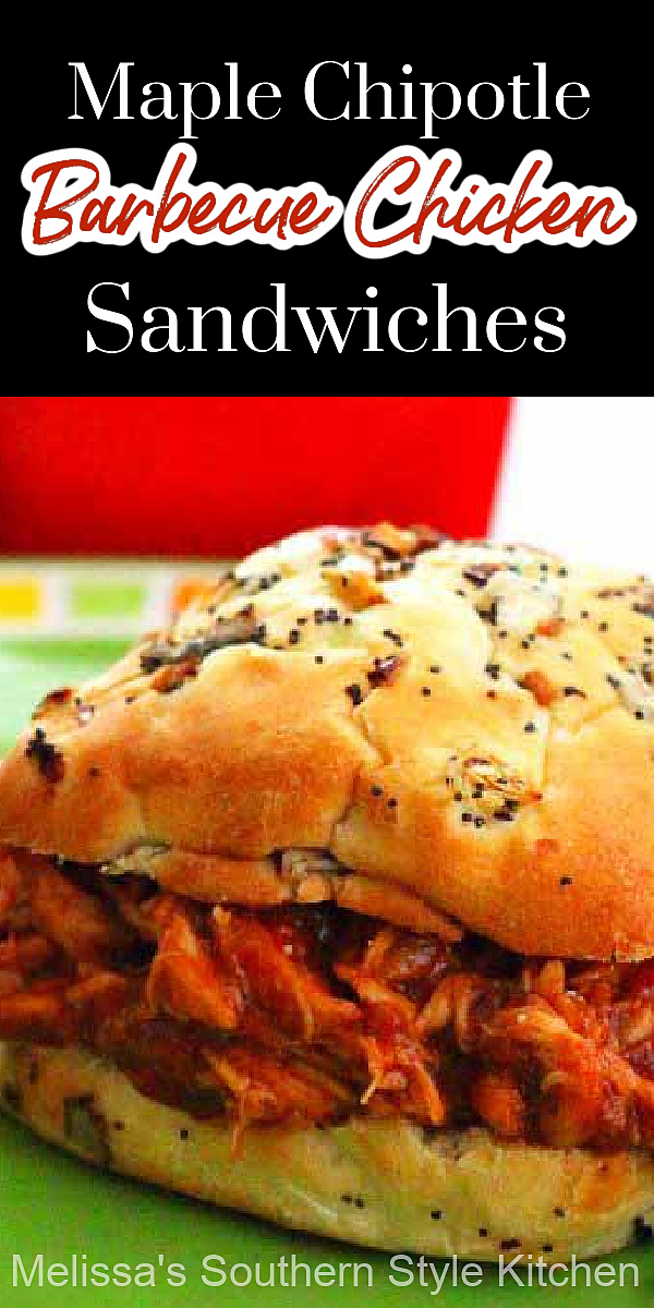 Short on time? These semi-homemade Maple-Chipotle Barbecue Chicken Sandwiches will solve your meal time dilemma #maplechipotlebarbecuechicken #barbecuechicken #barbecue #easychickenrecipes #easybarbecuerecipes