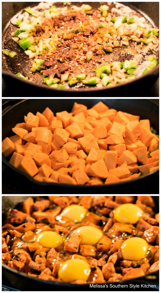 ingredients to make Ham and Sweet Potato Hash with Eggs