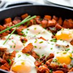 Homemade Ham and Sweet Potato Hash with Eggs