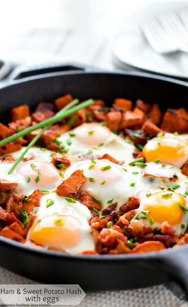 Ham and Sweet Potato Hash with Eggs in a skillet