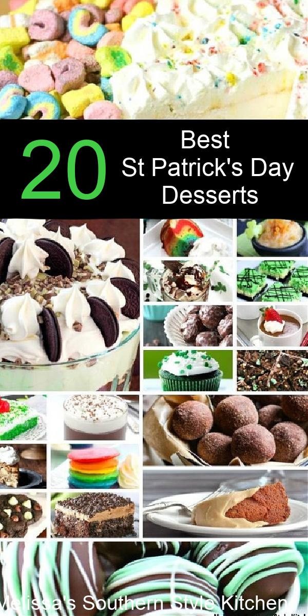 Kick off your St Patrick's Day celebration with this collection of desserts #chocolatedesserts #rainbowdesserts #irishcream #minttrifle #guinness #jellodesserts #brownies #truffles #baileyscream