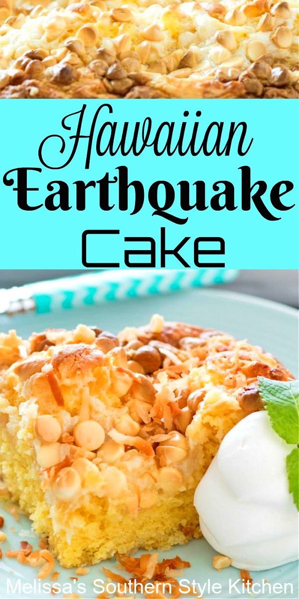 Island inspired Hawaiian Earthquake Cake is filled with pineapple, macadamia nuts, coconut and white chocolate chips for the ultimate combo #earthquakecake #coconutcake #pineapplecake #hawaiianearthquakecake #pineapplecake #cakemixhacks #southernrecipes