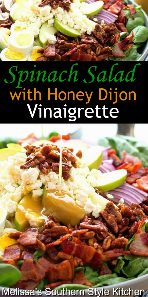 Enjoy this fresh Spinach Salad with Honey Dijon Vinaigrette as a side dish or topped with chicken or shrimp as an entree #spinachsalad #saladrecipes #homemadehoneydijondressing #honeymustard #sidedishrecipes #dinnerideas #spinachrecipes #southernfood #southernrecipes