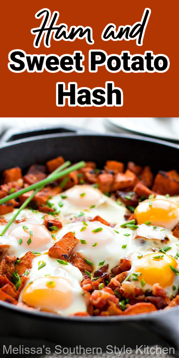 Serve this skillet filled with Ham and Sweet Potato Hash with Eggs at any meal #potatohash #sweetpotatohash #sweetpotatoes #brunch #breakfast #bakedeggs #dinner #dinnerideas #holidaybrunch #leftoverhamrecipes #ham #southernfood #southernrecipes #potatorecipes #skillethash