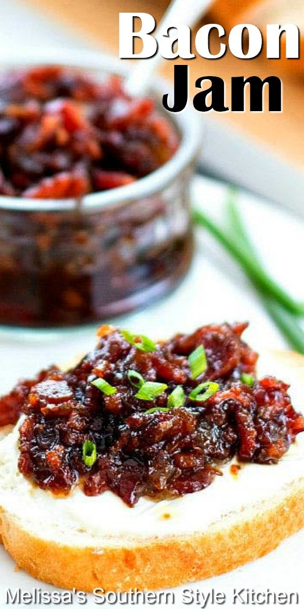 Enjoy this sweet and smoky Bacon Jam on burgers, as a spread, on hot buttermilk biscuits or warm goat cheese as an unforgettable appetizer #baconjam #bacon #jamrecipes #jam #baconrecipes #breakfast #brunch #holidqayrecipes #appetizers #dips #snacks