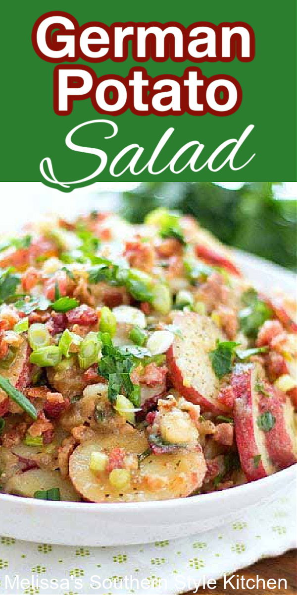 German Potato Salad is dressed with a tangy sweet vinaigrette and plenty of bacon #germanpotatosalad #potatosalad #potatosaladrecipes #salads #potatoes #sidedishrecipes #picnicfood #memorialday #july4threcipes #southernfood #southernrecipes