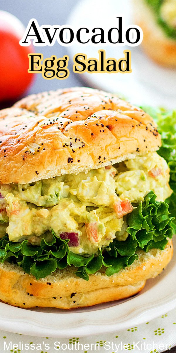 Take egg salad sandwiches t o another level with this Avocado Egg Salad #eggsalad #healthyrecipes #salad #eggs #sandwichrecipes #southernfood #avocadoeggsalad
