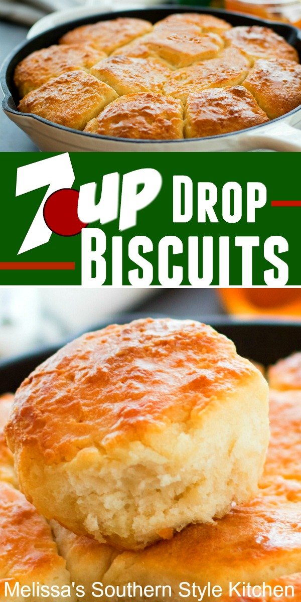 No rolling and cutting is required to make these buttery 7UP Drop Biscuits #dropbiscuits #7UP #biscuitrecipes #breadrecipes #southernbiscuits #southernfood #southernrecipes #brunch #breakfast