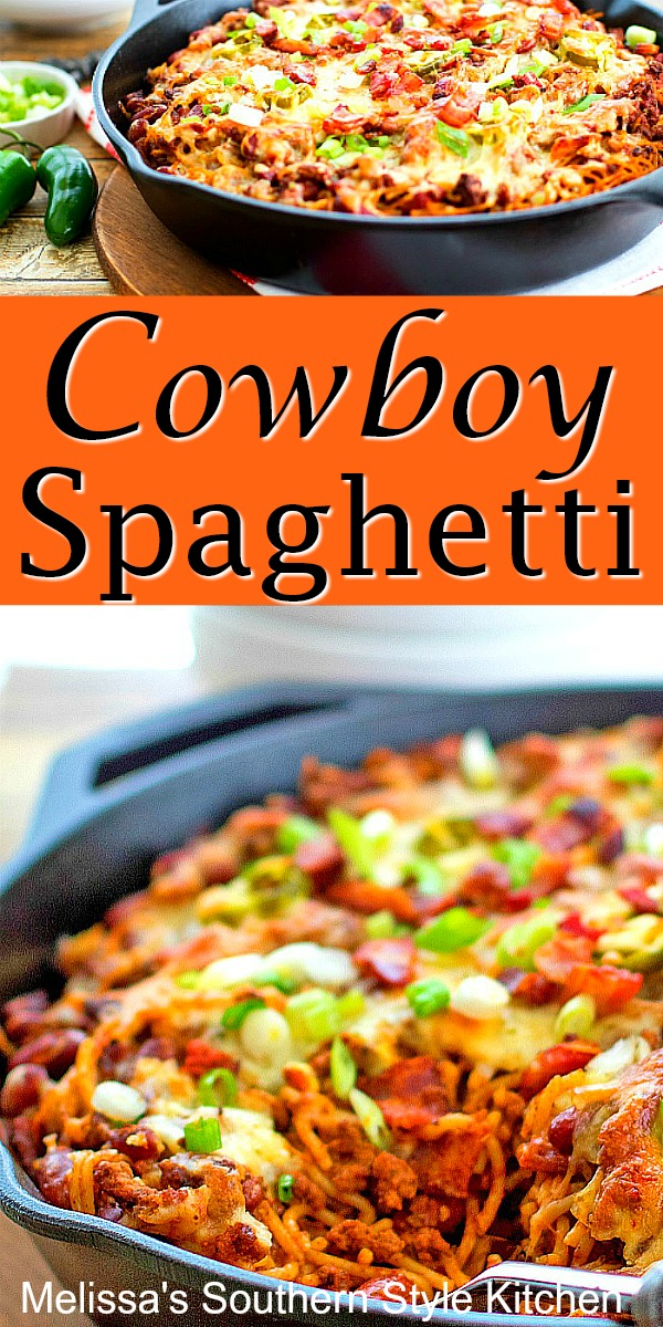 Bring the heat to dinner with this Cowboy Spaghetti #spaghetti #cowboyspaghetti #pasta #chili #dinner #dinnerideas #skilletmeals #southernfood #southernrecipes #groundbeefrecipes #southernfood #southernrecipes #easydinnerrecipes #easygroundbeefrecipes