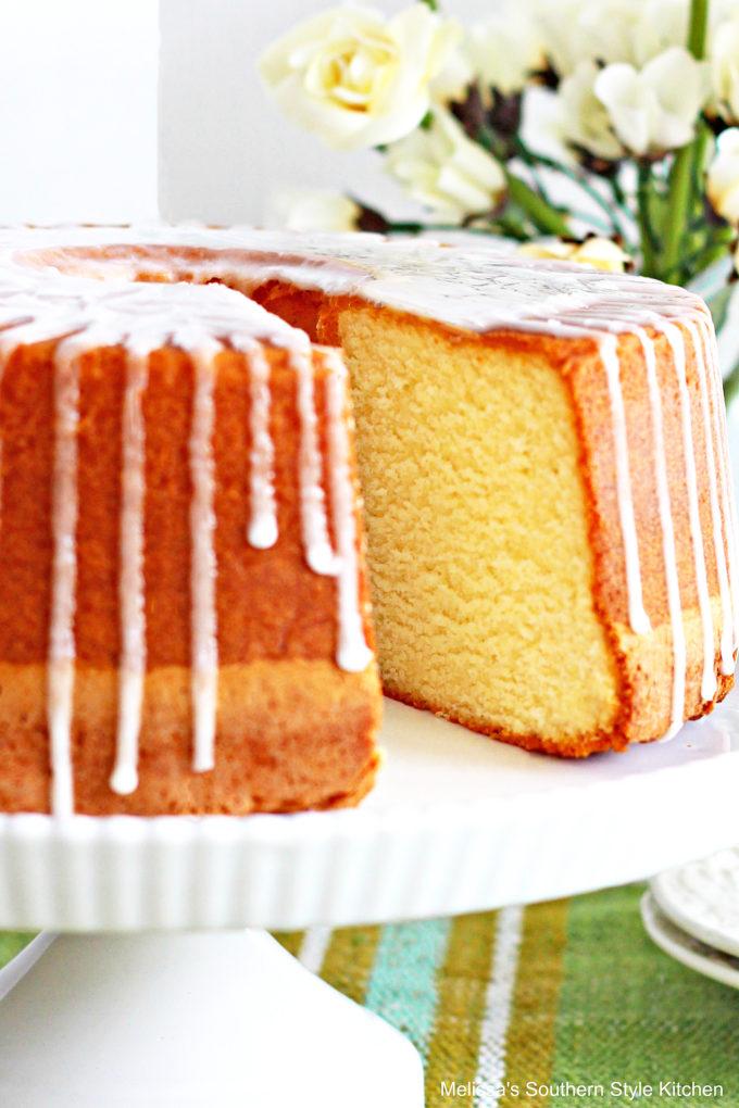 Pound Cake on a cake pedastal