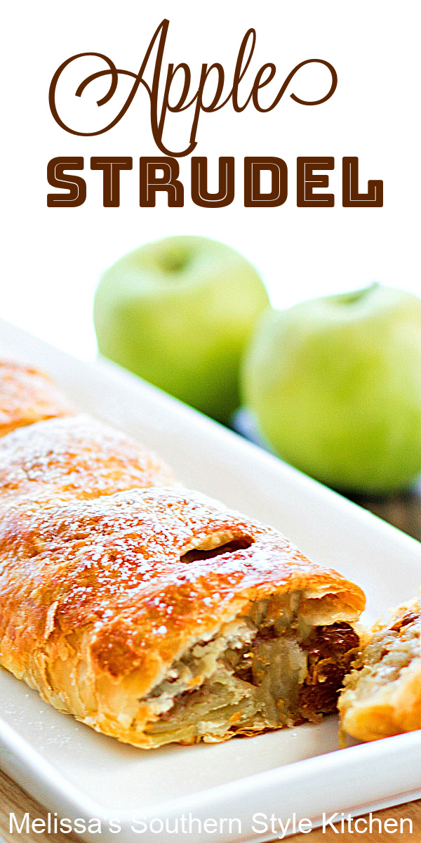 Apple Strudel is a classic sweet treat filled with apples, raisins and toasted pecans for a winning flavor combination #applestrudel #applestrudelrecipe #apples #desserts #appledesserts #dessertfoodrecipes #brunch #breakfast #puffpastry