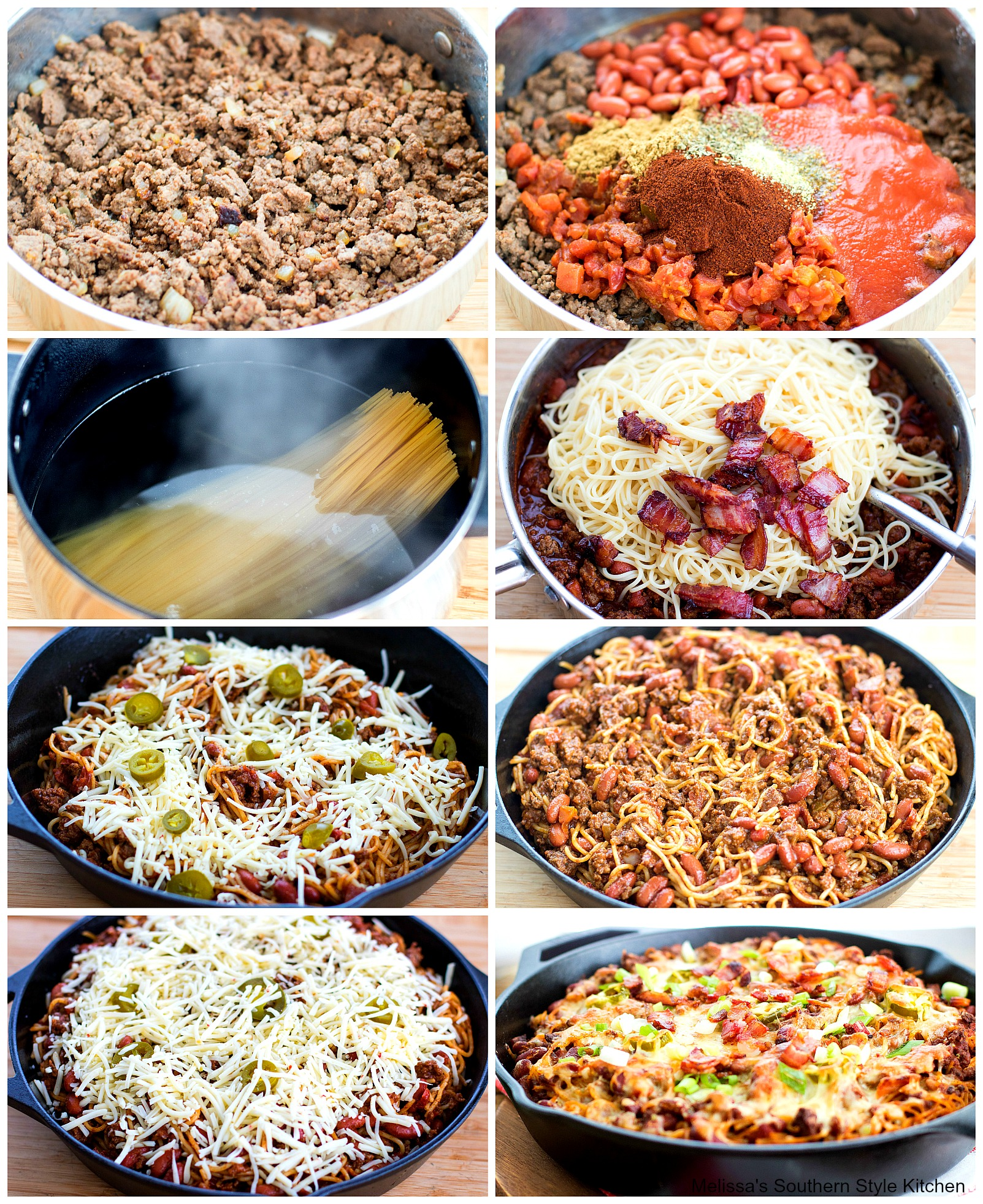 step-by-step images and ingredients for cowboy spaghetti