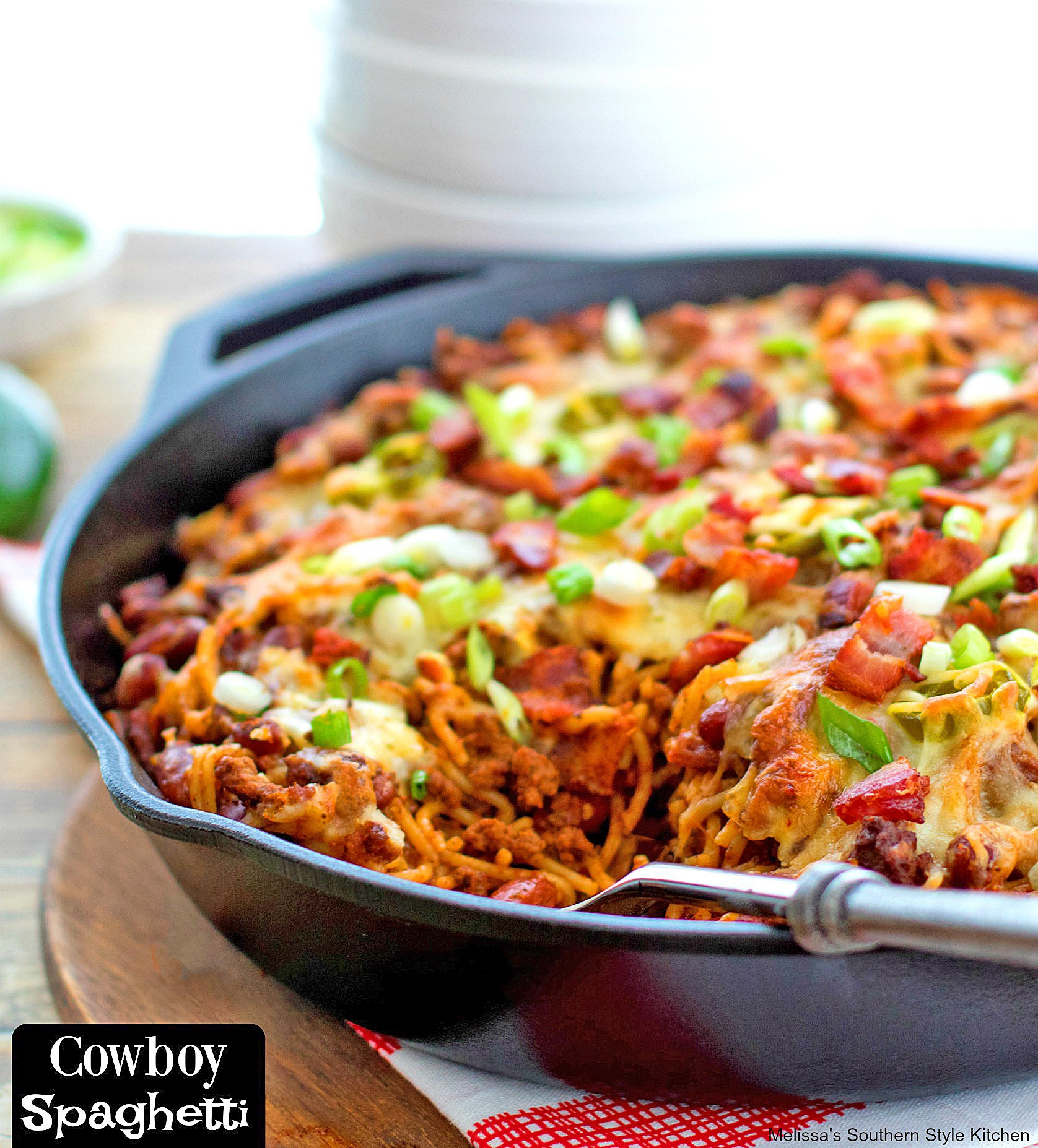 baked spaghetti in a skillet