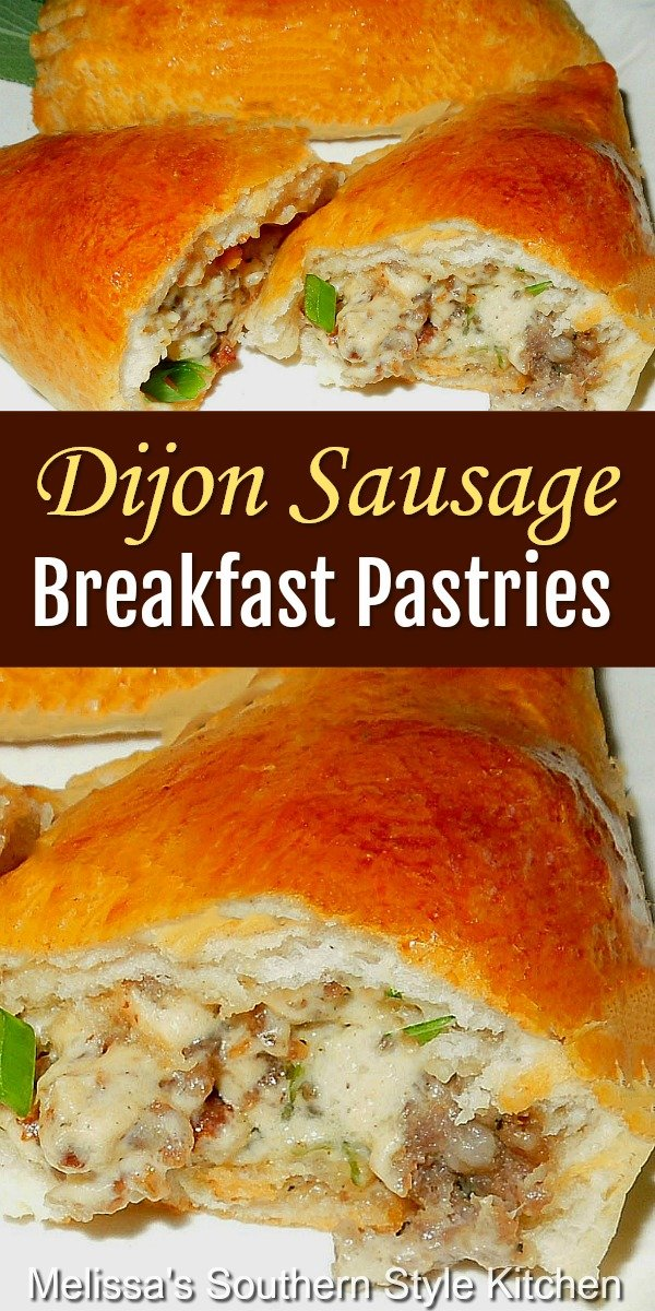 Start your morning with these easy Dijon Sausage Filled Breakfast Pastries #sausagepastries #breakfastpastries #sausagerecipes #brunch #pastries #cannedbiscuitrecipes #dijonsausagepastries #easyrecipes #southernfood #southernrecipes #breakfastrecipes #breakfast