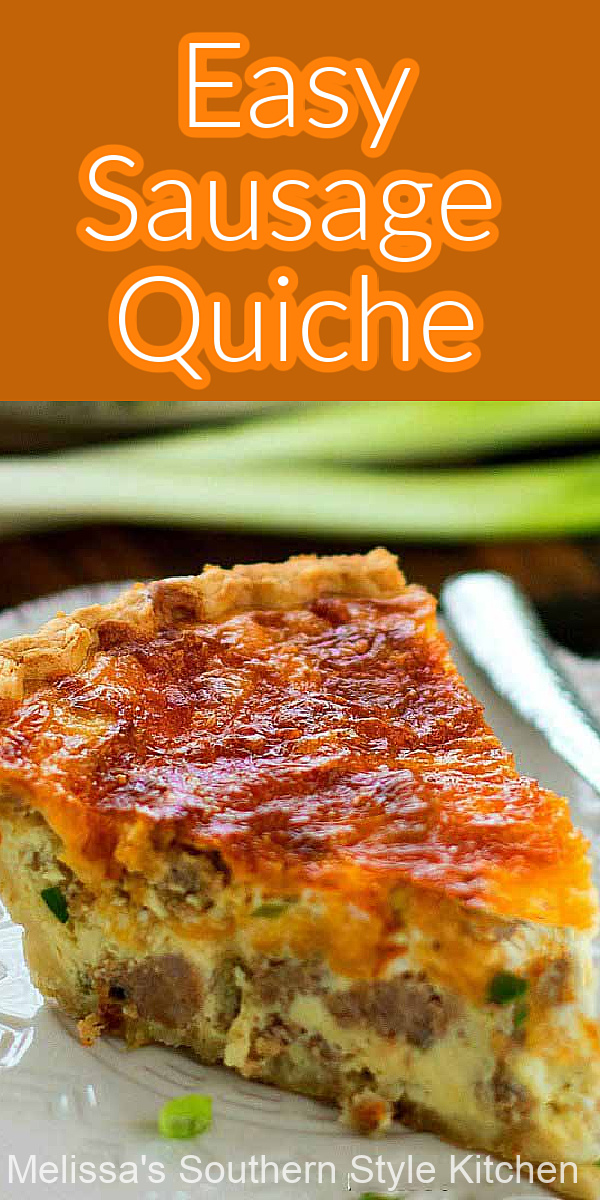 This Easy Sausage Quiche turns pantry staples into an any-time-of-day quiche feast #sausagequiche #quicherecipes #easysausagequiche #bestquicherecipes #brunch #breakfast #holidaybrunch #christmasbrunch #easyrecipes #dinner #southernfood #eggs #sausage #porkrecipes #southernrecipes