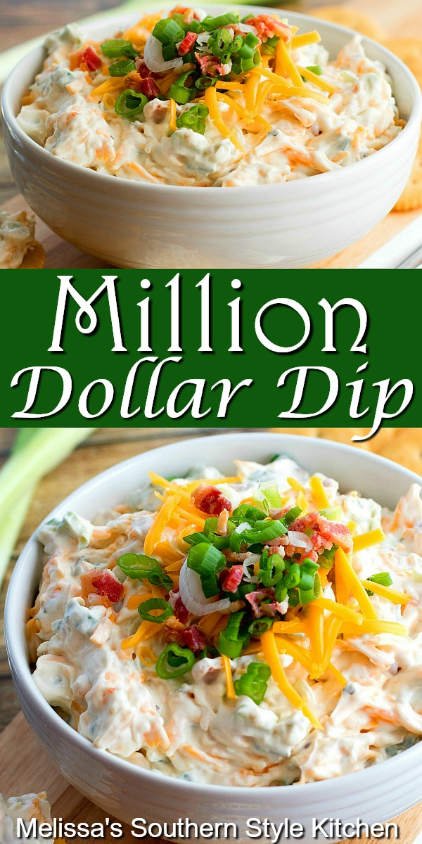 Million Dollar Dip is perfect for year-round snacking #milliondollardip #diprecipes #appetizer #bacondip #easyrecipes #partyfood #tailgating #recipes #southernfood #southernrecipes #gamedayfood #superbowlfood