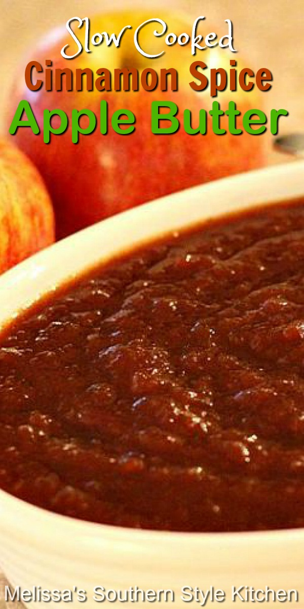 Simmer this sweet and cinnamon spiced apple butter in your slow cooker and the house will smell wonderful, too! #applebutter #apples #slowcooked #slowcooker #crockpot #brunch #jams #breakfast #appleseason #harvest #southernfood #southernrecipes