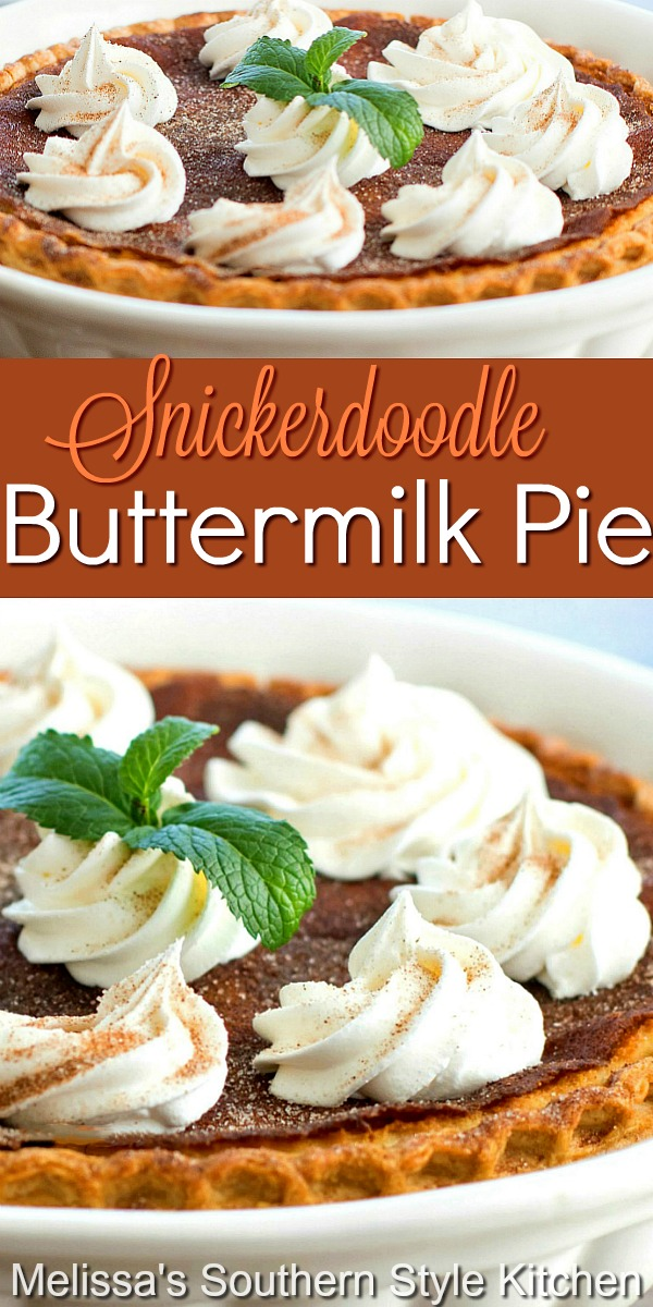 Two classic desserts collide in this sweet and spicy Snickerdoodle Buttermilk Pie #snickerdoodlepie #snickerdoodles #buttermilkpie #southernrecipes #desserts #dessertfoodrecipes #snickerdoodles #cinnamon #pies #holidayrecipes #thanksgivingpies #fallbaking #buttermilkpie