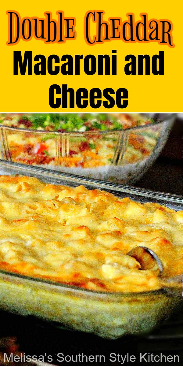 There's double the cheddar to love in this homemade macaroni and cheese #macandcheese #macroniandcheese #macaroni #cheese #casserole #sidedishrecipes #holidaysides #cheese #southernrecipes #southernfood #cheesy #bestmacandcheese #thanksgiving #christmasrecipes #easterrecipes #holidaybaking #southernmacaroniandcheese