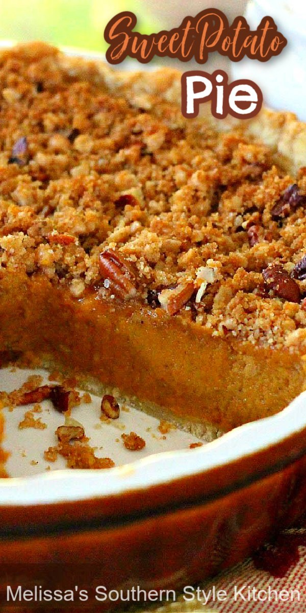 The perfect alternative to pumpkin, this streusel topped Sweet Potato Pie is impossible to resist #sweetpotatopie #sweetpotatoes #pies #pierecipes #fallbaking #thanksgivingrecipes #sweetpotato #holidayrecipes #southernfood #southernrecipes desserts #dessertfoodrecipes