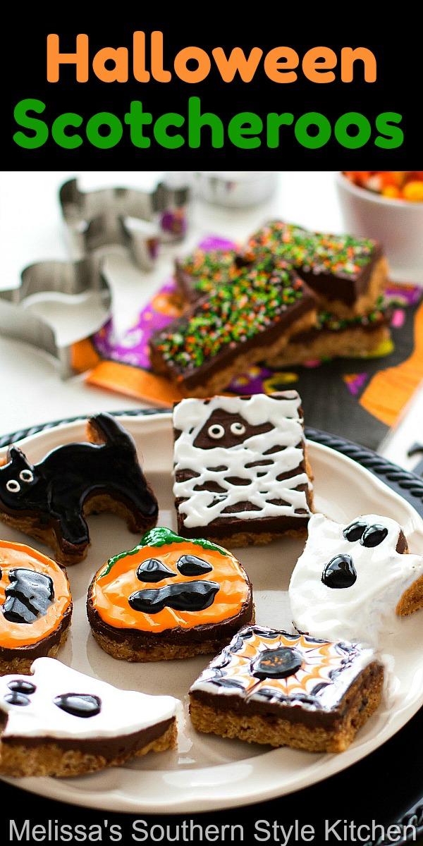 Set-up a decorating station for the kiddos to create their own Halloween Scotcheroos #scotcheroos #halloween #peanutbutter #nobakedesserts #kidfriendly #partyfood #desserts #chocolatescotcheroos ##dessertfoodrecipes #fall #halloweenparty #partyfood