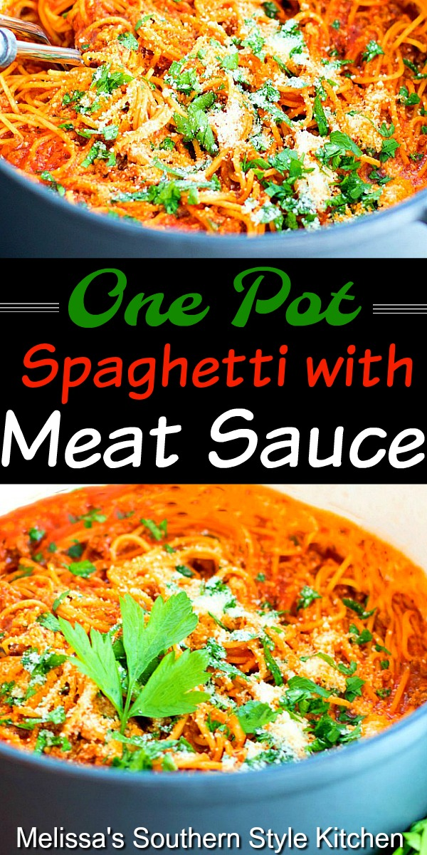 One Pot Spaghetti with Meat Sauce #spaghetti #spaghettisauce #meat #beef #easygroundbeefrecipes #dinnerideas #Italianspaaghetti #easyrecipes #onepot #pasta #southernfood #southernrecipes