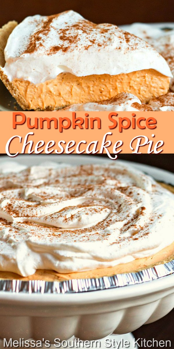 This no-bake Pumpkin Spice Cheesecake Pie is a must-make for the season #nobakepies #pumpkinspice #pumpkinspicepie #pumpkinpie #cheesecake #pumpkincheesecake #thanksgivingdesserts #falldesserts #holidayrecipes #pumpkin #southernfood #southernrecipes #desserts #dessertfoodrecipes