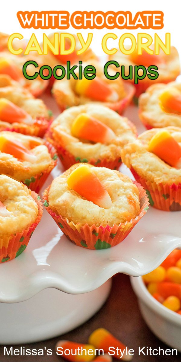 These seasonal two-bite cookie cups are a fun way to celebrate the flavors synonymous with fall #cookiecups #candycorncookies #candycorncookiecups #whitechocolatecookiecups #fallbaking #halloweeencookies #cookies #desserts #dessertfoodrecipes #southernfood #southernrecipes